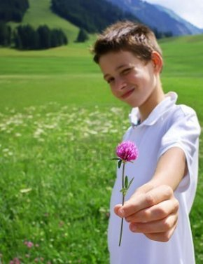 7593847-boy-in-mountainous-environment-giving-wild-flower